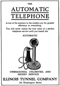 Ad from Illinois Tunnel Company showing candlestick phone with dial
